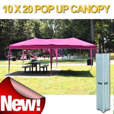 Pink 10x20 Easy Pop Up Gazebo Bbq Party Canopy Tent Ez Set Up Party Canopy Gazebo Canopy Tent