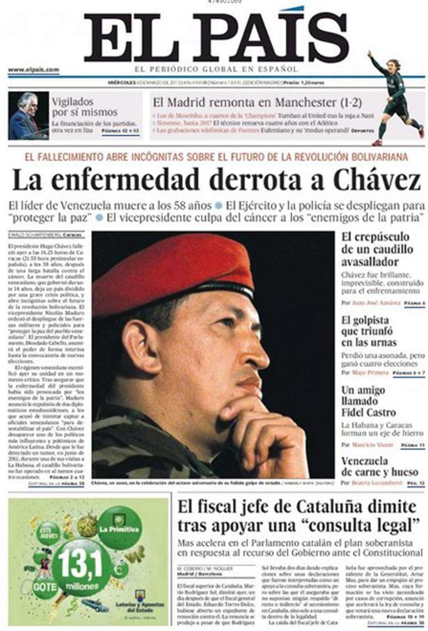 40 Ideas De La Noticia En Los Medios Muere Hugo Chavez Hugo Chávez Noticia Titulares De Prensa