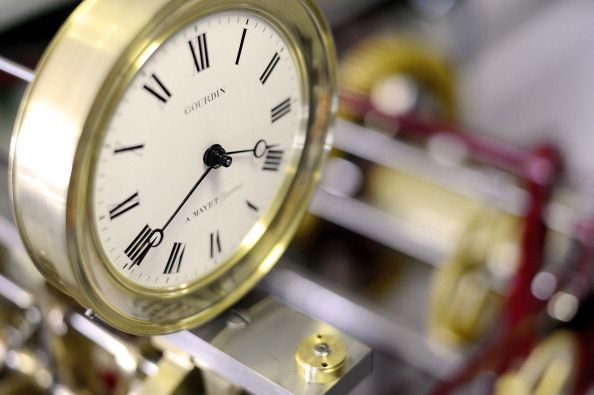 An old clock is pictured at the plant of th Bodet company on March 26 2014 ... JEAN-SEBASTIEN EVRARD Collection: AFP 2014.