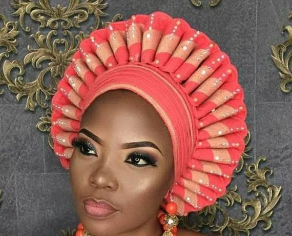 0362173478fb Autogele/ Ready-to-Wear Gele/ Ready Made Gele/ Stoned Auto Gele/ Aso oke /  Bridal Bedazzled Auto Gele/ Available in Any Color