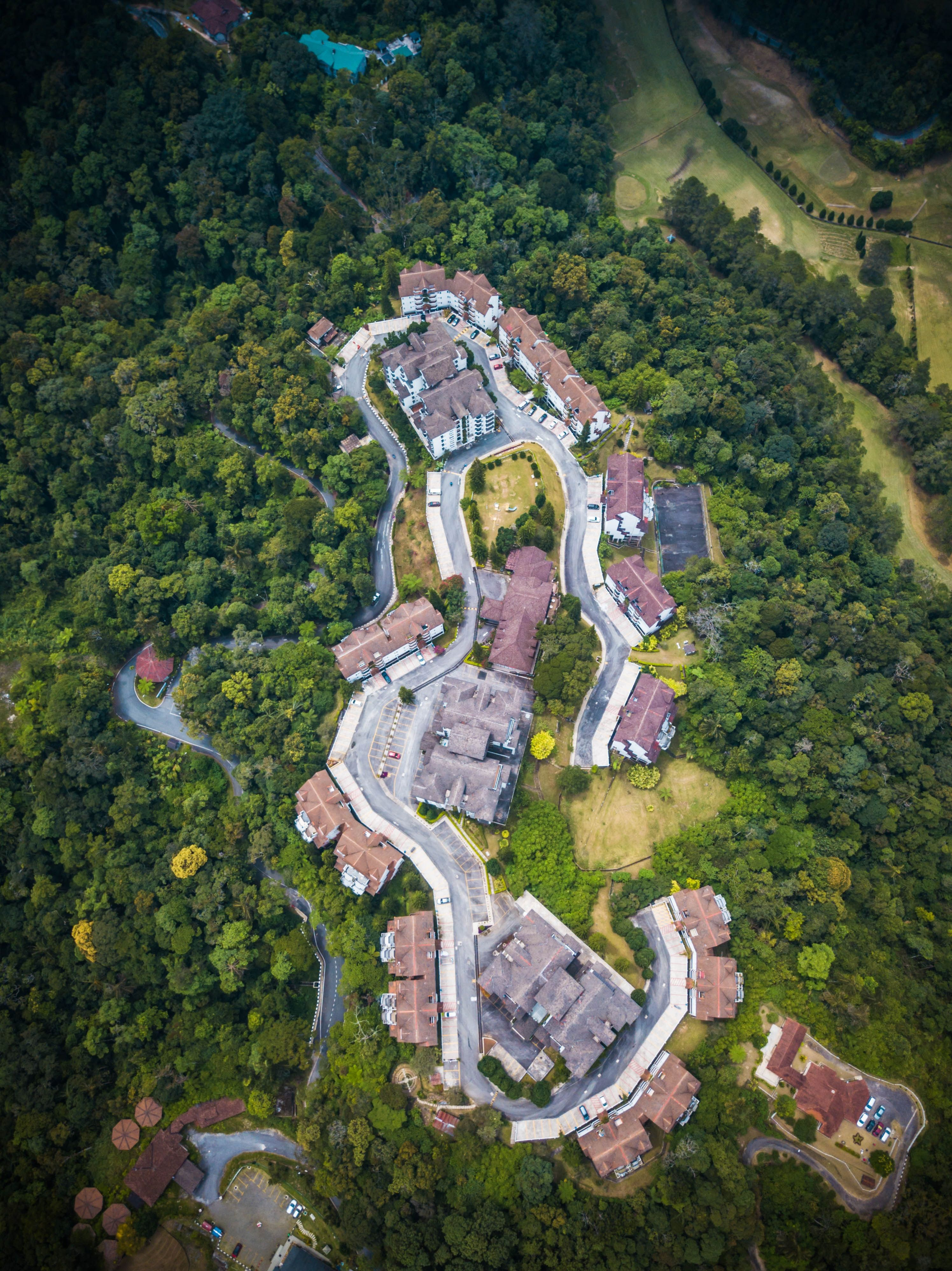 Fraser's Hill, Malaysia, birds eye view of village, DJI