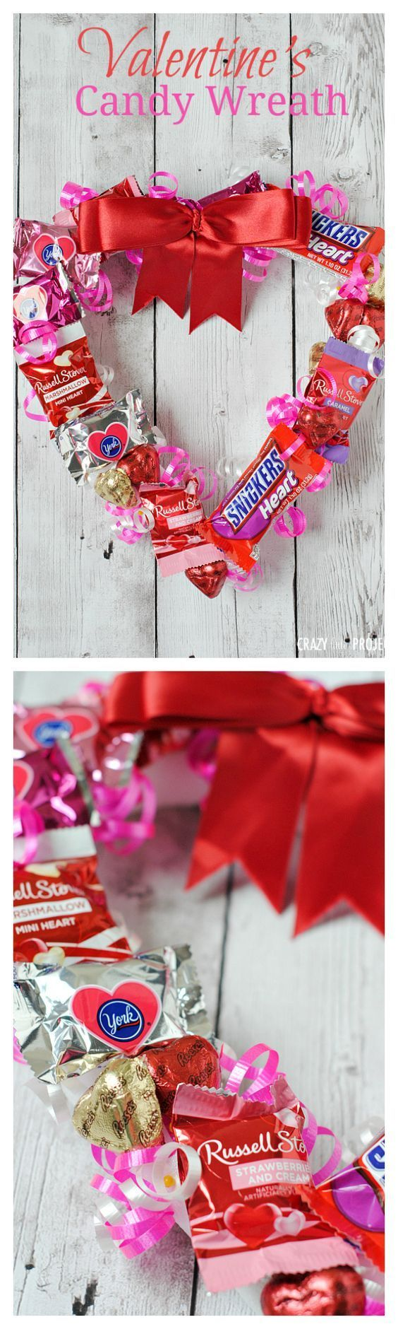 cute gift idea for valentines candy wreath - Valentines Day Gift Idea