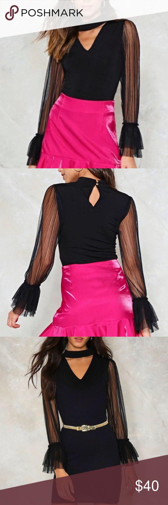 🔥NEW NASTY GAL Choker Bodysuit Sheer Mesh Sleeves PRICE IS FIRM🔒BRAND-NEW 48f5aa31e