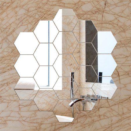Free Shipping Buy 12pcs Diy Wall Sticker Hexagonal 3d Mirror Self