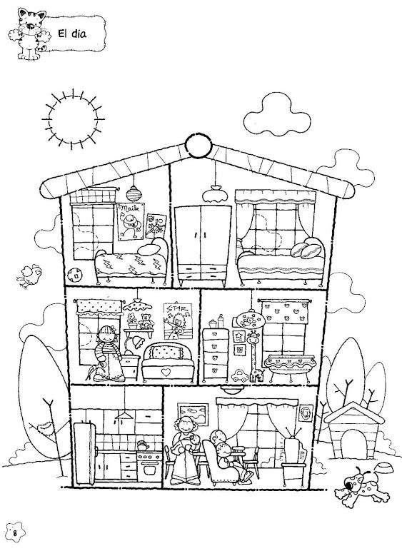 Use there is there are to describe the parts of the house teacher resources pinterest - Coloriage maison ...