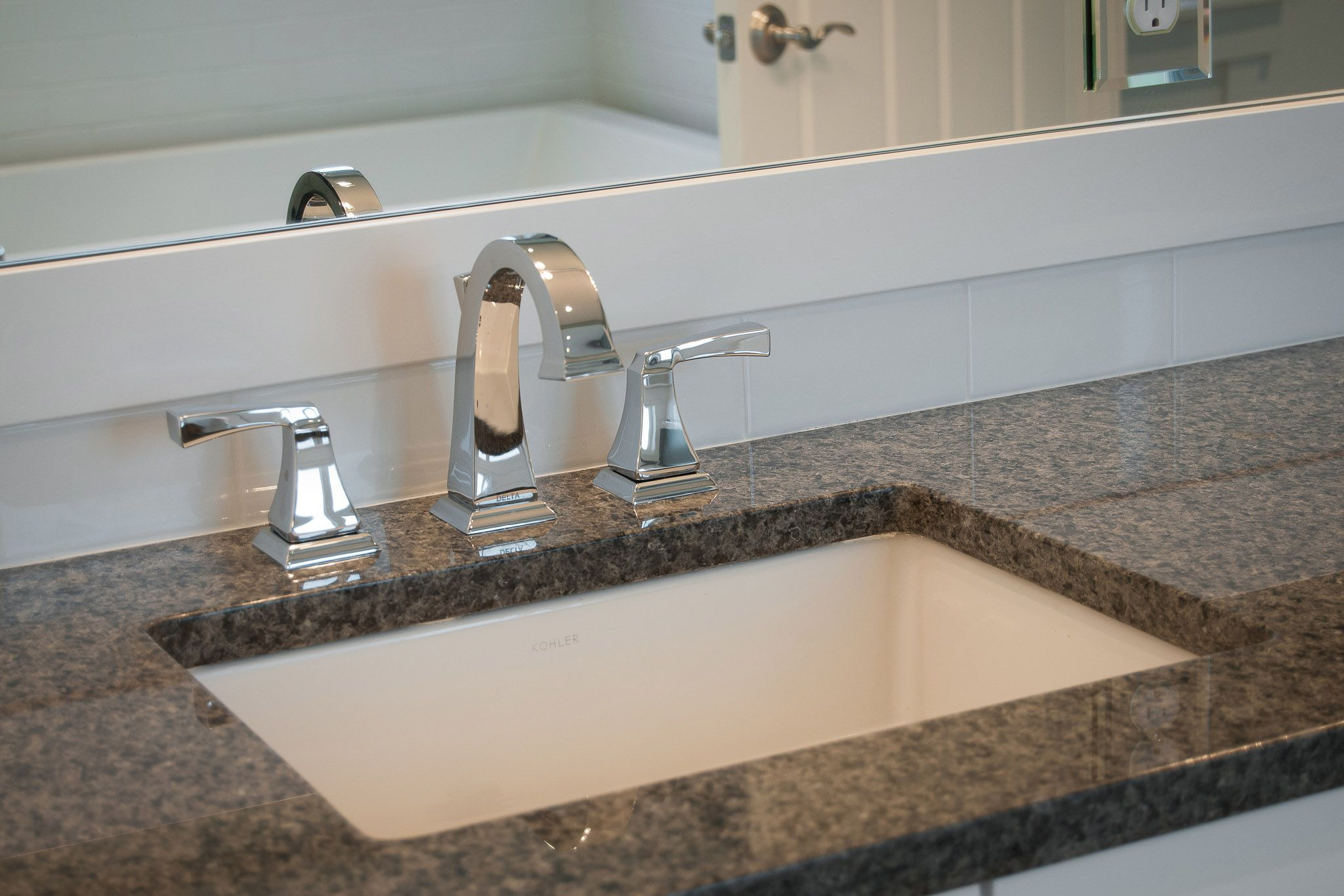 Like The Simplicity Of This Sink Flush With The Granite Counter Nice Faucet Too Small Bathroom Remodel Bathrooms Remodel Bathroom Decor