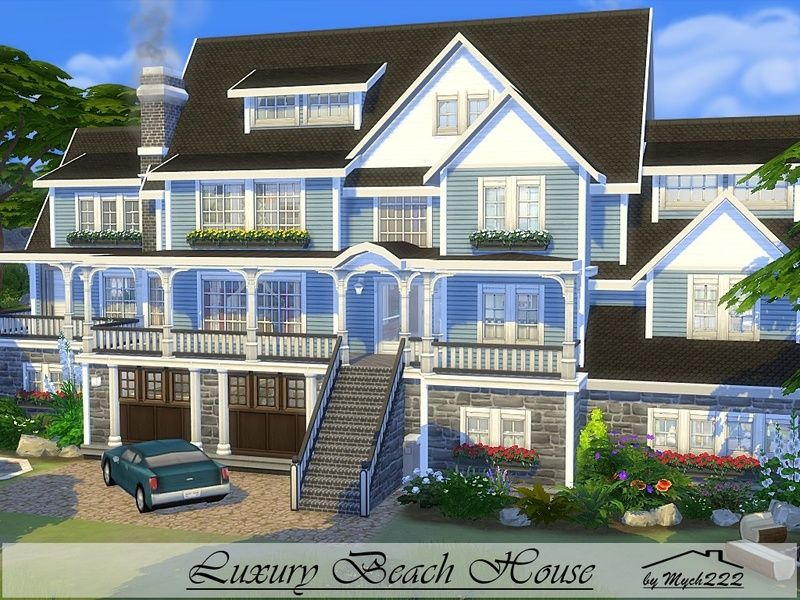 Luxury Beach House Is A Huge Family Home Built On 40x30 Lot In Windenburg Found In Tsr Category 39 Sims 4 R Luxury Beach House Sims House Design Sims House