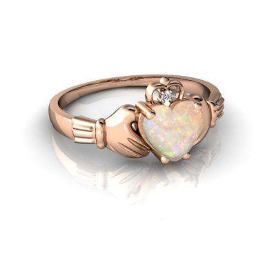14Kt Rose Gold Plated Black Opal /& Diamond Heart Mom Ring