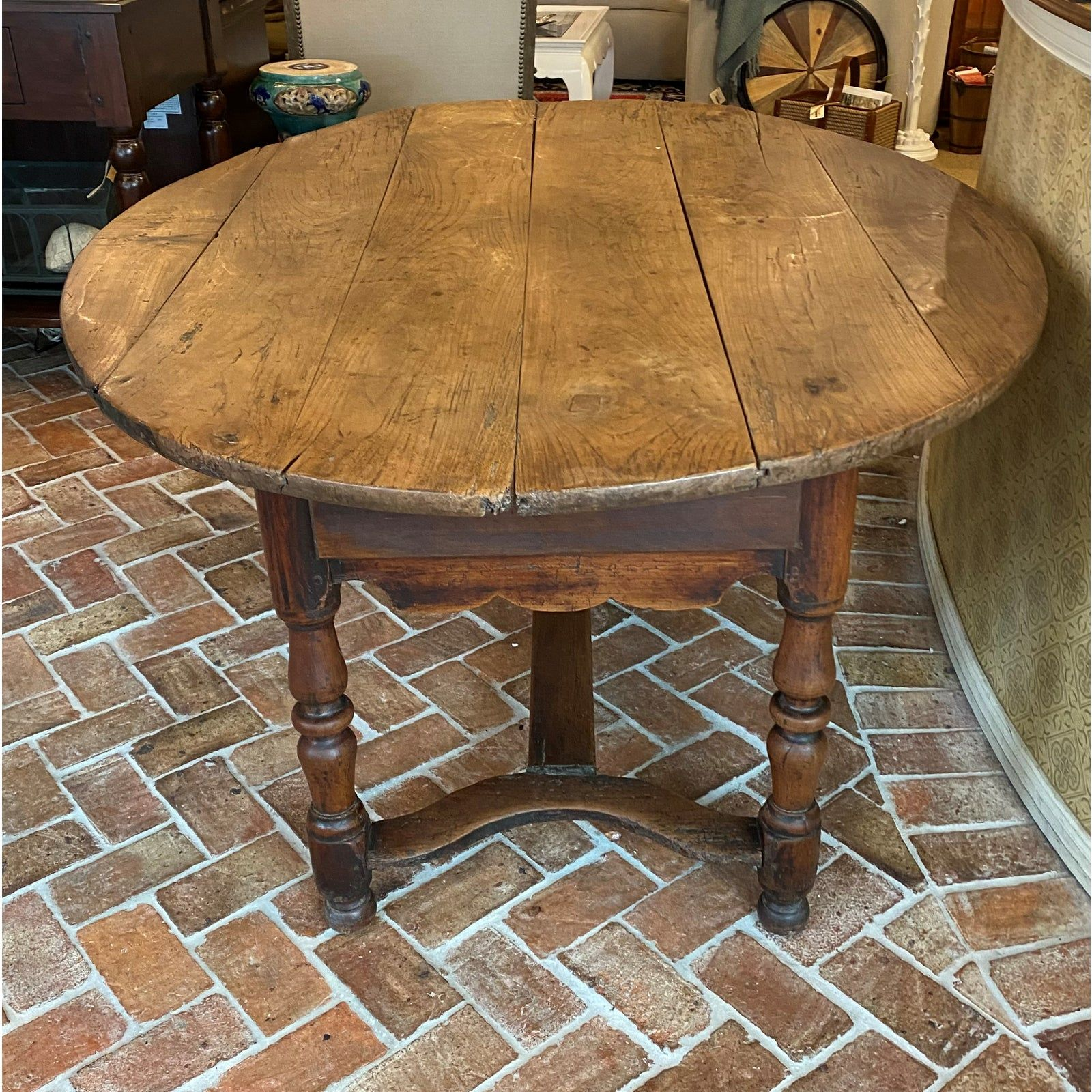Antique Rustic Plank Top Oval Dining Table Chairish Oval Table Dining Dining Table Table