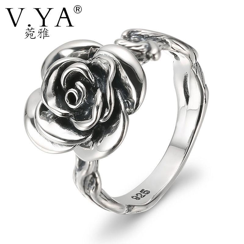 216d5246a13b8a V.YA Retro Black Thai Silver Rose Flower Rings for Women 100% 925 Sterling  Silver Finger Ring S925 Black Rose Party Ring Punk