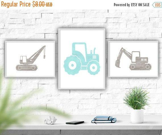 Transport Aquarell Druck, Jungen Kinderzimmer Dekor, Traktor