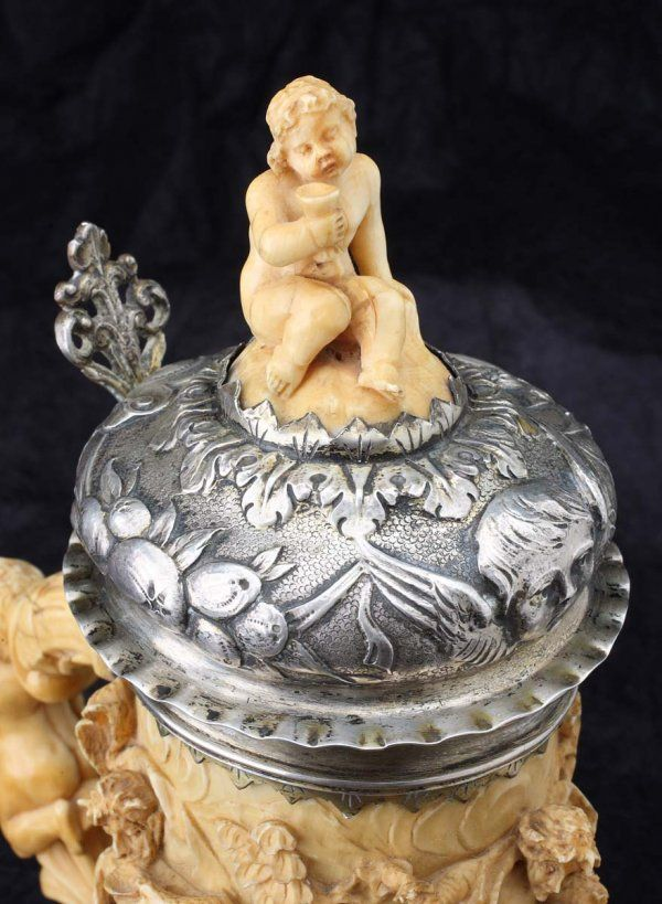 186: German Silver and Ivory Tankard late 17th c. : Lot 186