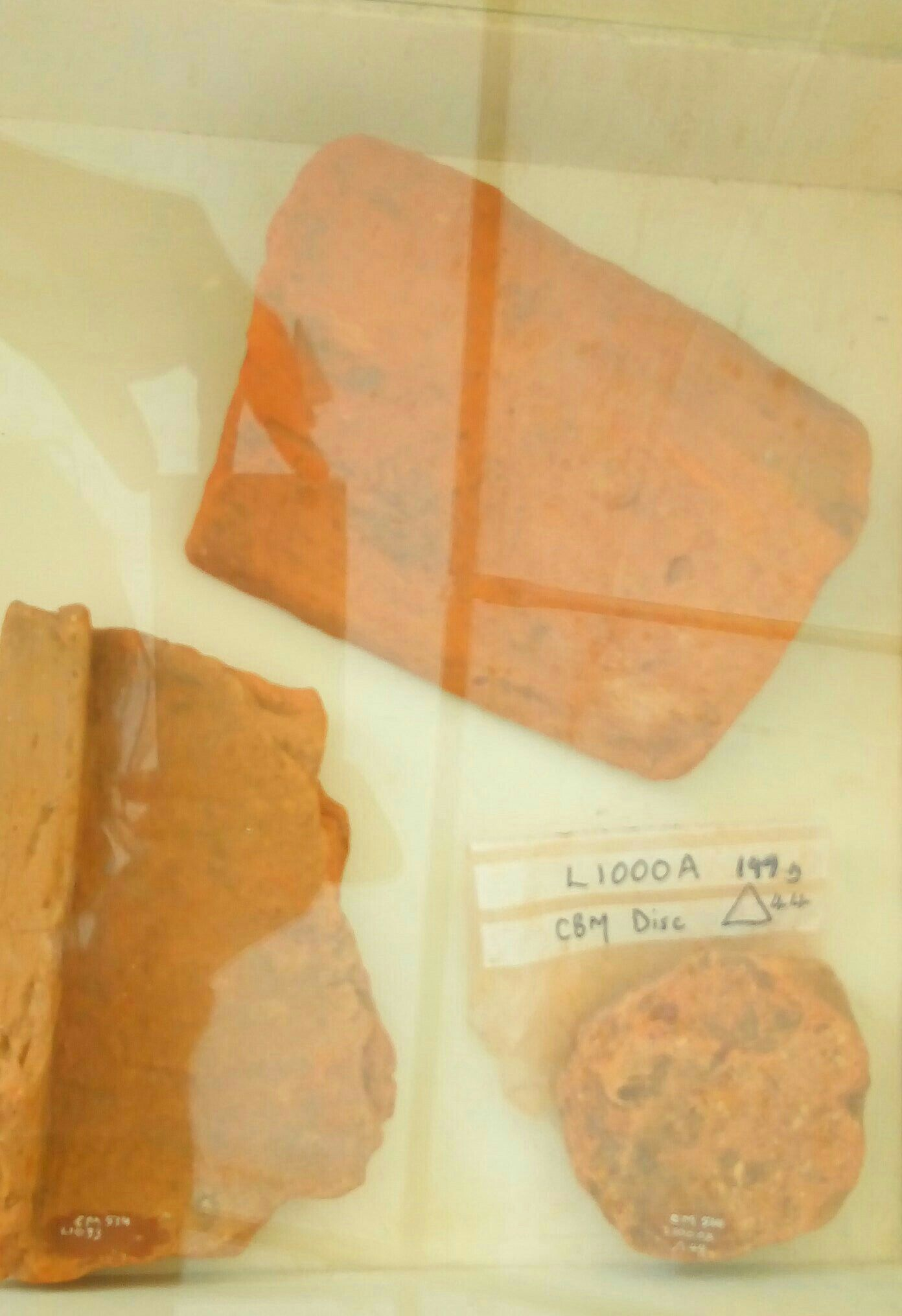 Fragments of Box flue tiles and Ceramic building material  disc, discovered at Colemore by Liss Archaeology Group