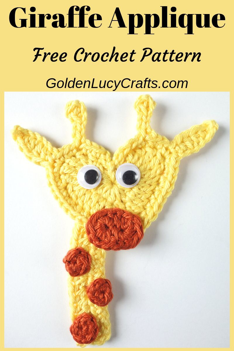 Crochet Giraffe Applique, Free Crochet Pattern #giraffepattern This crochet Giraffe pattern is another addition to my heart-shaped appliques series. His face is made from a heart and it will be perfect for any child who loves giraffes! #crochetgiraffepattern
