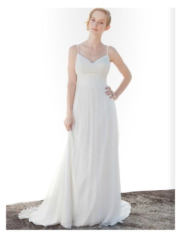 Chiffon spaghetti straps simple wedding dress wedding for Plain wedding dresses with straps