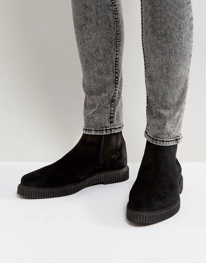 ASOS DESIGN chelsea boots in faux suede with creeper sole 8CTvmbpHo