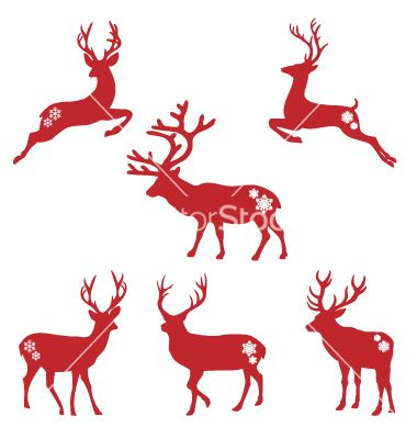 Christmas deer stags vector 1048153  by amourfou on VectorStock