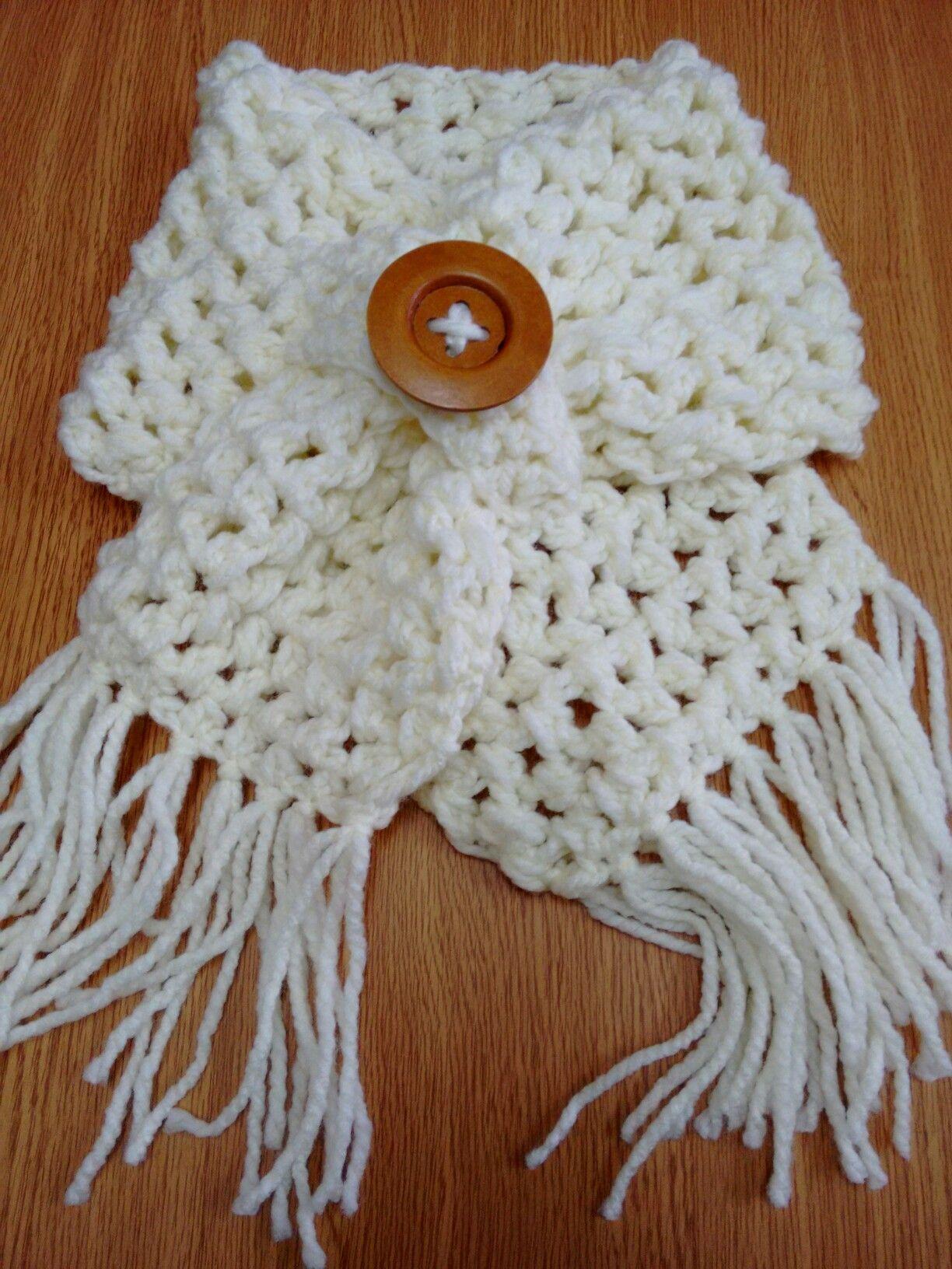 Cuello tejido a ganchillo color blanco invierno. | bufandas, cuellos ...