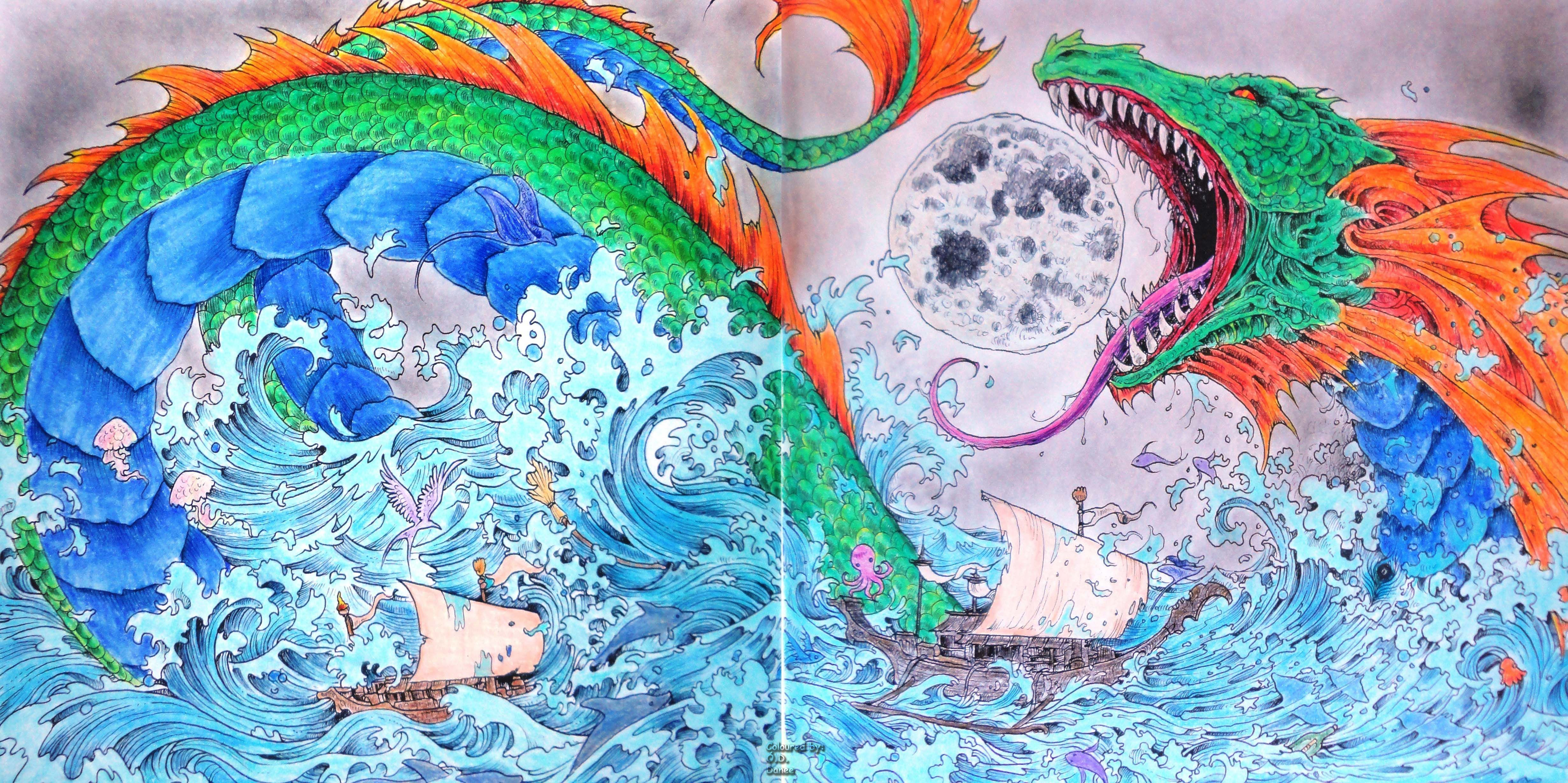 Kerby Rosanes Mythomorphia Bakunawa Coloured With Prismacolor Premiers Toddler Coloring Book Coloring Books Coloring Book Chance