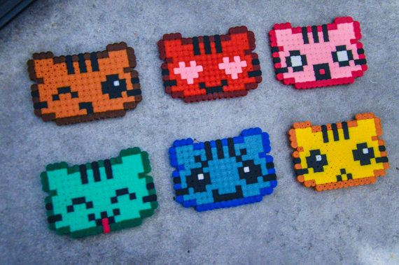 6 Clip frame Hama beads cute cat Pixel Art Kitty by