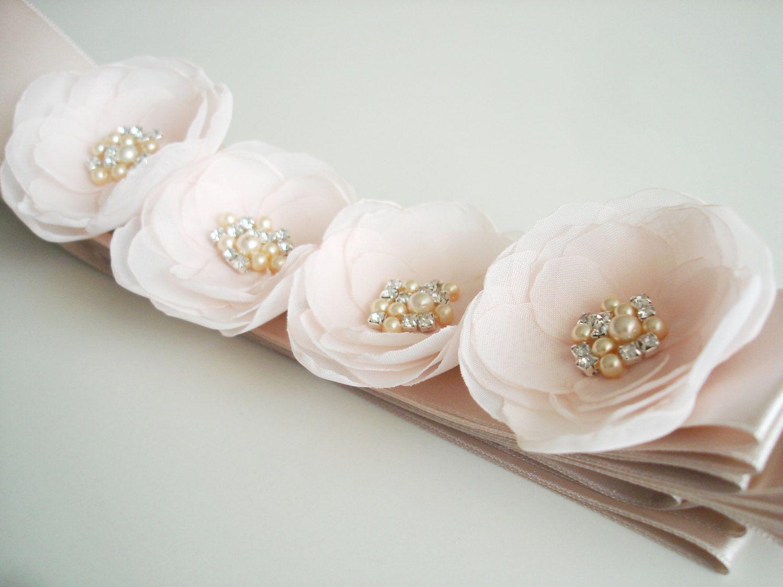 Burlap wedding dress sash  Blush Bridal Sash Pale Pink Wedding Sash Floral Sash Pink Flower