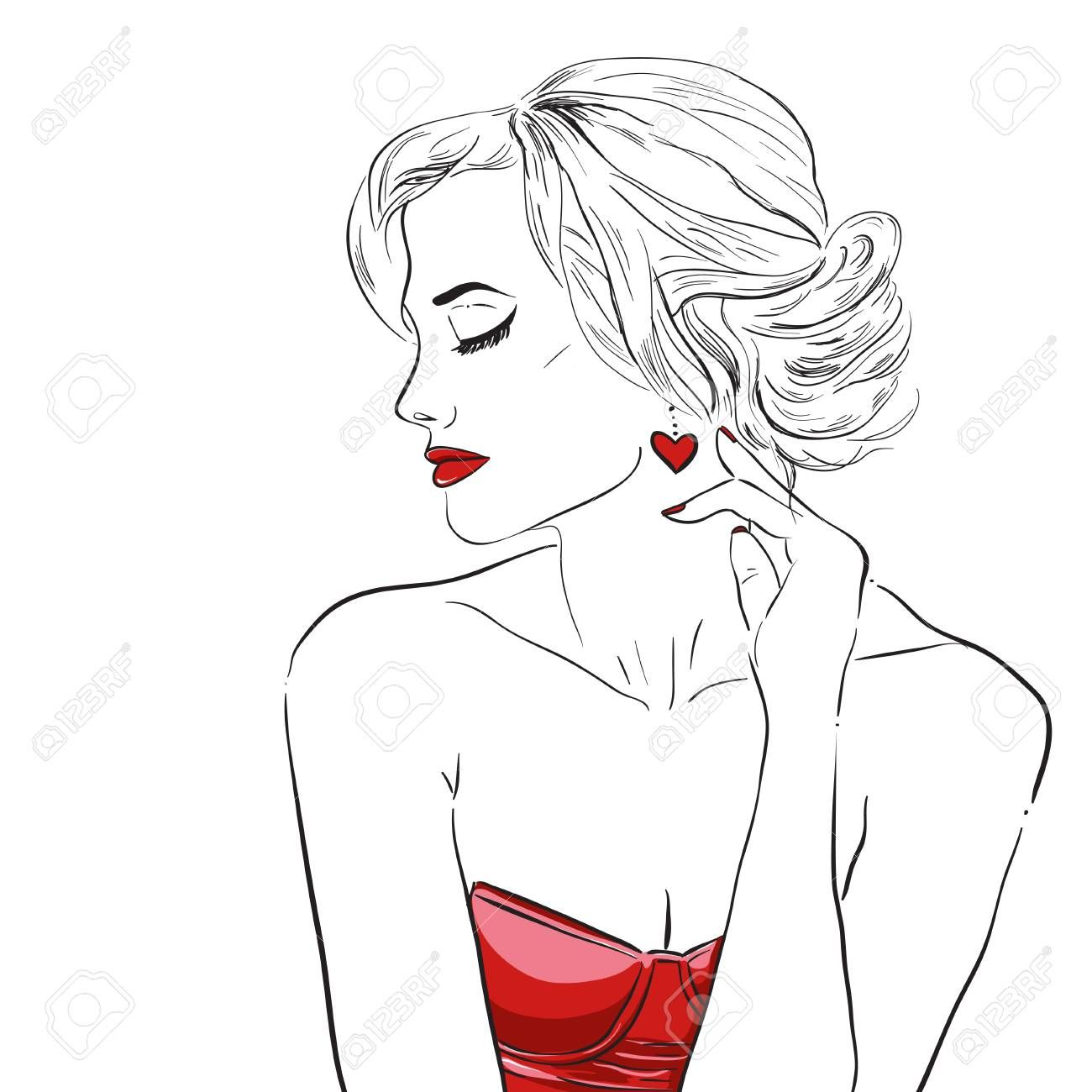 Hand drawn woman in dress. Fashion model. Vector ,