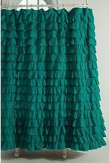 Teal Ruffled Shower Curtain This Is A Beautiful Jewel Tone