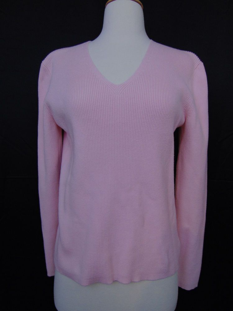 Eddie Bauer Top Cotton Blend Long Sleeve Pink V-Neck Size Large #414 #EddieBauer #KnitTop #Casual