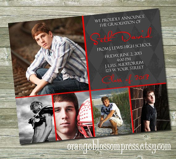 modern custom photo graduation announcement invitation grey modern