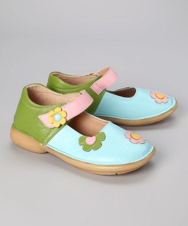 Look what I found on #zulily! Light Blue & Green Flower Leather Mary Jane by Rainbow Steps #zulilyfinds