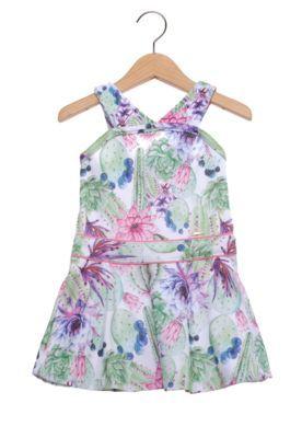 Vestido Manga Curta Nick Floral Infantil  Verde/Rosa
