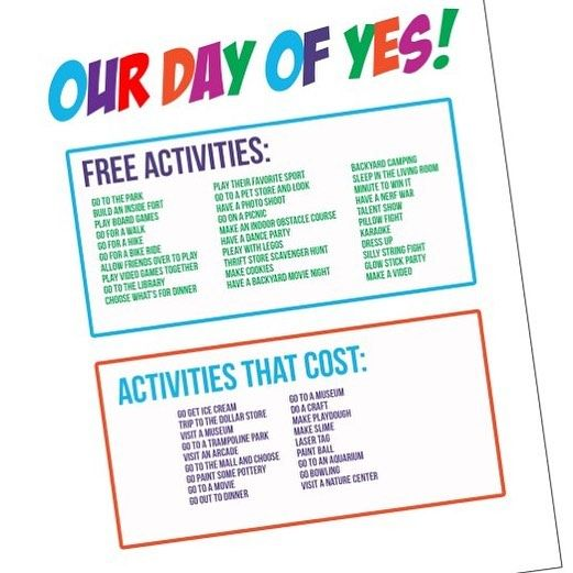How To Have A Day Of Yes With Your Kids Free Printable Kids
