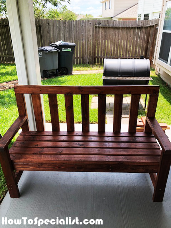 Diy 2x4 Bench With Backrest Howtospecialist How To Build Step By Step Diy Plans Diy Bench Outdoor Diy Wood Bench Wooden Bench Diy