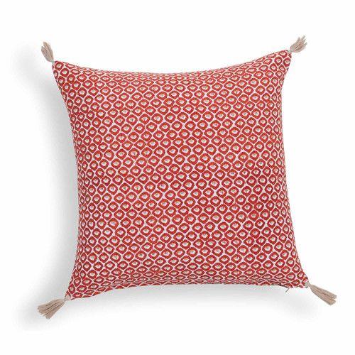 Housse De Coussin En Coton Rouge/Beige Nomad | Maisons Du Monde