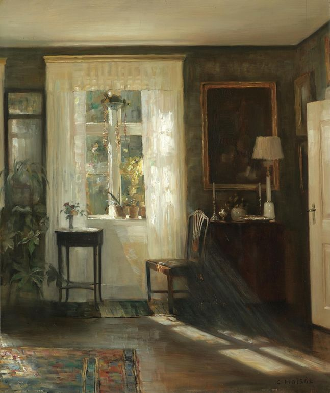 Carl Holsøe DANISH, 1863 - 1935 INTERIØR I SOLSKIN (SUNLIT INTERIOR) oil on panel, 77 by 66cm  © Sotheby's