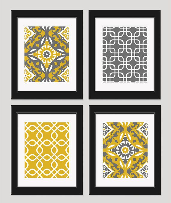 Gold Grey Art Yellow Wall Art Home Decor Geometric by inkandnectar, $45.00