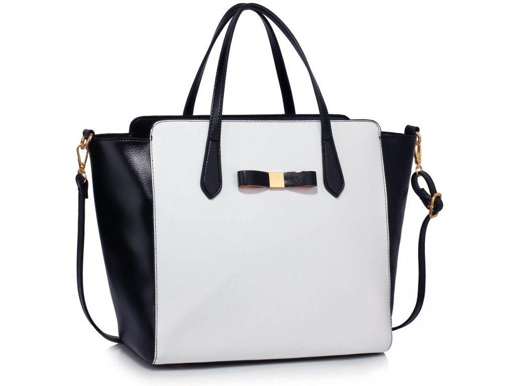 Shopper kabelka Justina čierna / biela (34x17x30x43cm).