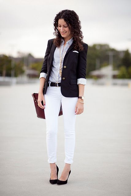 Alterations Needed :: Spring Black - White pants, blue striped ...