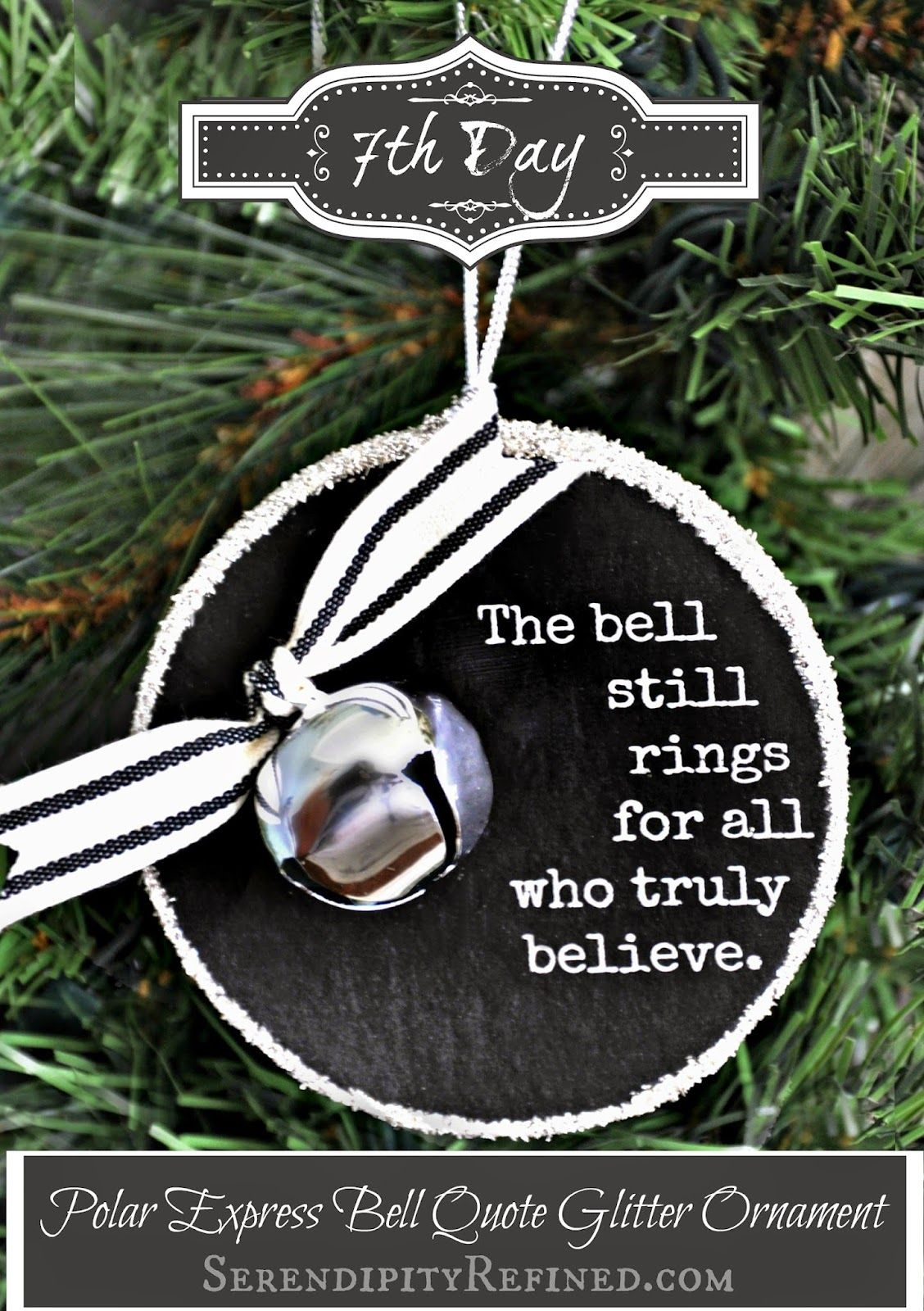 Simple polar express bell quote ornament tutorial by serendipity