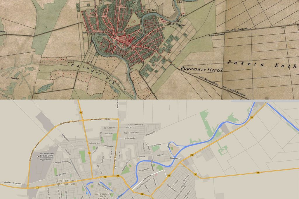 Zrenjanin Map Then1860s and Now2010s Places to Visit Pinterest