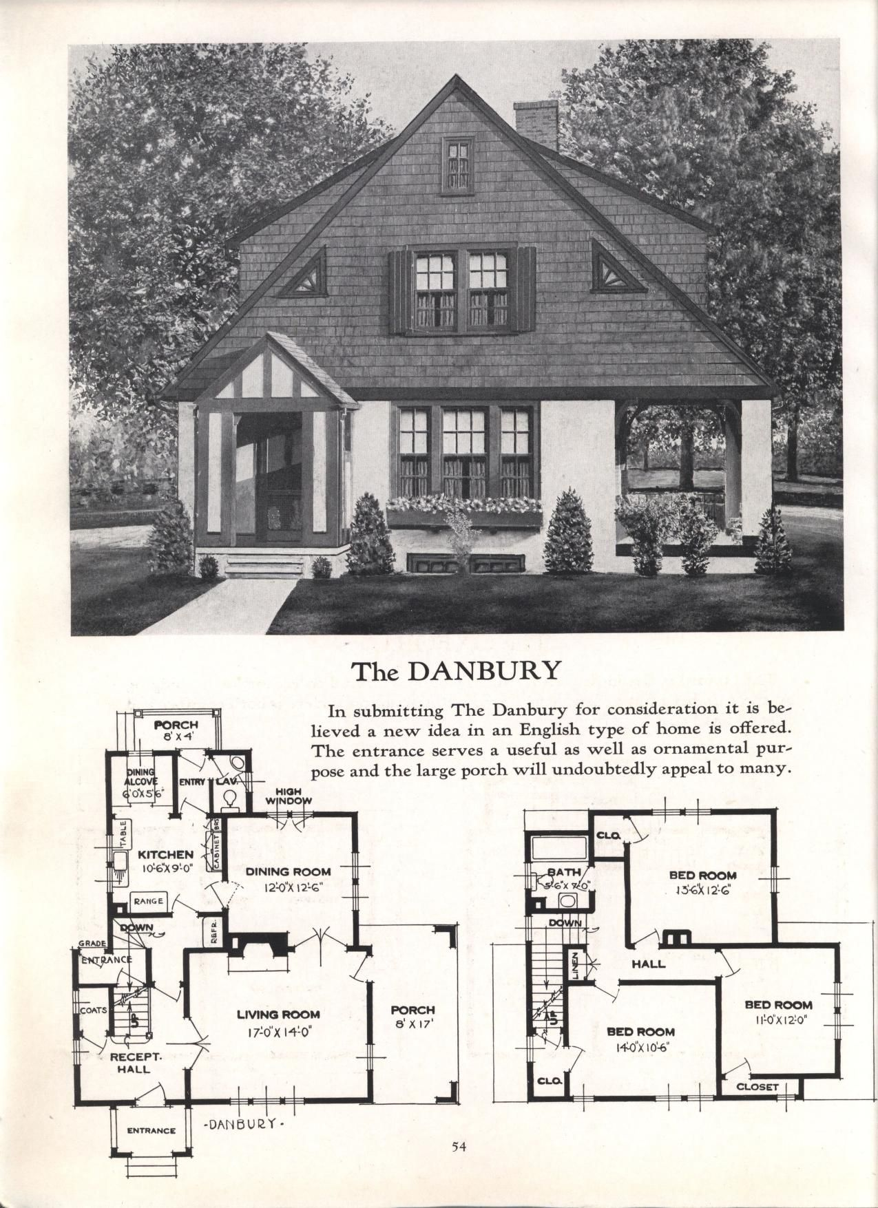 Better Homes At Lower Cost No 17 By Standard Homes Co Publication Date 1930 The Danbury Vintage House Plans House Plans Historic Homes