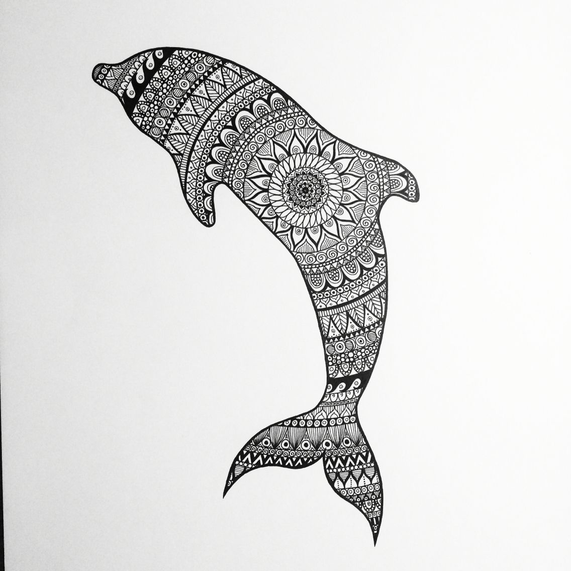 Zentangle Dolphin zentangle dolphin black white mandala doodle drawing animal BampW