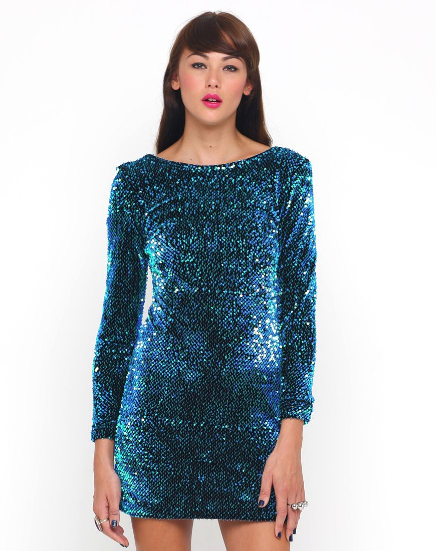 6ab850c9 Motel Gabby Plunge Back Dress in Aqua Sequin | sparkle and party ...