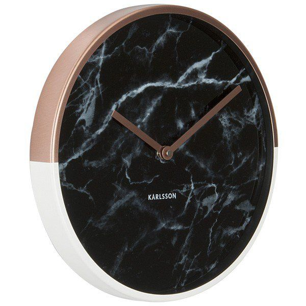 Marble Delight Clock Copper Amp Black Wow Your Guests With The Marble Delight Clock Copper Amp Black From Ka Marble Clock Black Wall Clock Wall Clock