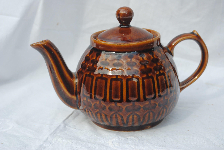 Vintage Retro Teapot Pruszkow Brown Ceramic Polish Glaze Teapot Retro Poland Pottery Tea Pot By Sjmartcollectables On Ets Retro Teapot Pottery Tea Pot Tea Pots