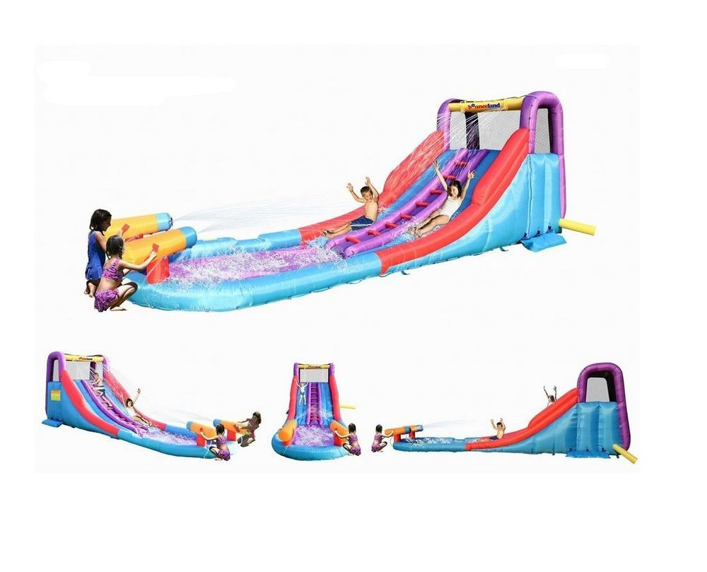 dual rapid combo 2 in 1 water slide red blue water slide cannon