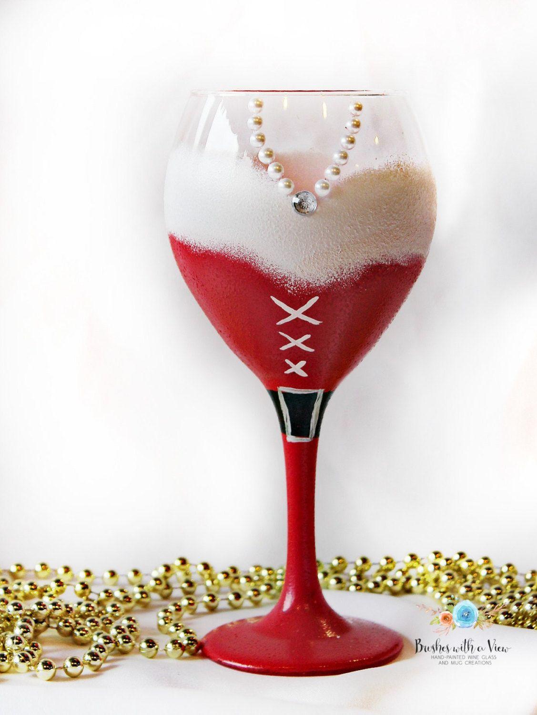 Christmas Wine Glass Holiday Wine Glass Santa Wine Glass Unique Wine Glass Santa Gift Secret Christmas Wine Glasses Wine Glass Designs Wine Glass Crafts
