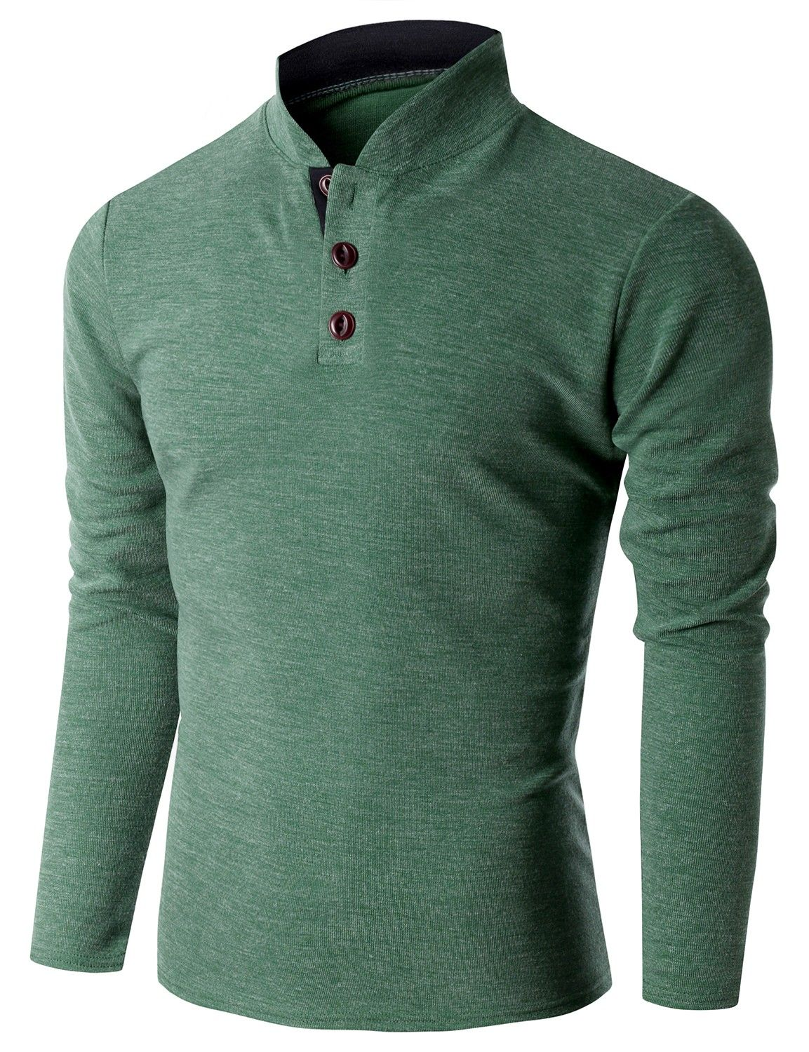 9ba333eba0fe Doublju Men's Long Sleeve China Collar Henley Neck T-shirt (KMTTL0155)  #doublju