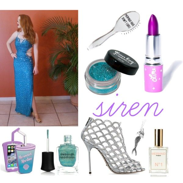 Doubletake Halloween: Siren by doubletakeglamour on Polyvore featuring polyvore, fashion, style, Sergio Rossi, Skinnydip, Lime Crime and Deborah Lippmann