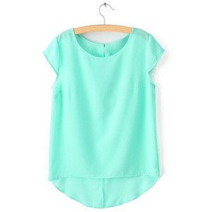 Simple Style Scoop Collar Solid Color Chiffon All Match Short ...